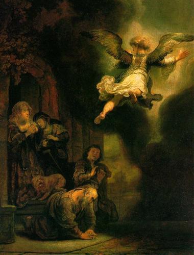 Rembrandt, Arkanđeo Rafael oprašta se od Tobitove obitelji 1637